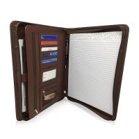 Quality Personalized Leather Padfolio With Zipper , Professional Leather Business Padfolio for sale