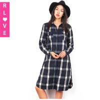 Quality Europe Fashion black & white plaid blue long-sleeved button collar women dress with pocket for sale