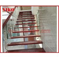 Quality Wrought Iron Staircase VK100S  Wrought Iron Handrail Tread Beech,Railing tempered glass, Handrail b eech Stringer,carbon for sale