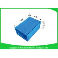 Attached Lids Collapsible Storage Crate , 45 L Industry Foldable Plastic Box