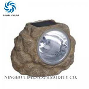 China White Color 3 LED Solar Lights Waterproof Polyresin LED Rock Landscape Lights on sale