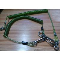 Snap hook on each end terminal transparent green stop drop tooling wire coil lanyard cable