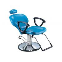 Buy Light Blue Salon Barber Chair Artificial With Manual Lifting , Tilted Footrest at wholesale prices