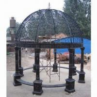China Gazebos, made of cast iron, wrought iron and marble, suitable for garden on sale