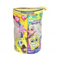 China Round Spongebob Theme Toy Bricks Blocks Zipper Storage Bags for Children Building Blocks with handle on sale