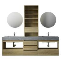 Quality Large Storage Space Grey Bathroom Vanity , 2 Touch Round Mirrors Wall Mount Vanity for sale