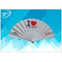 Quality Customized Plastic Folding Fan With Fabric ,  Size 23cm Hand Held Folding Fans for sale