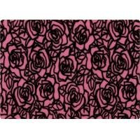 China 100% Polyester Rose Patterned Flocked Velvet Fabric 140-150gsm on sale