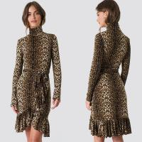 China Autumn Fashion Women Long Sleeve And High Neck Leo Polo Dress Brown on sale