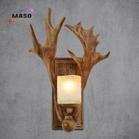 Buy cheap Maso Flat Antler Wall Sonce Lamp 340*450 Resin Factory Directly Manufacture E14/E27 Lamp Base Edison LED Bulb MS-W2007 from Wholesalers