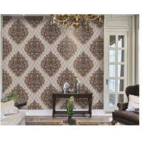Washable PVC Vinyl Wallpaper , Classic Damask Wallpaper Designs For Living Room