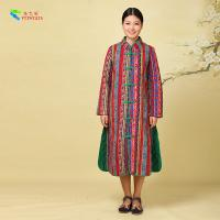 Quality Cotton Material Womens Long Padded Coat With Buckle Chinese National Pattern for sale