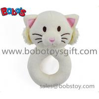 Quality 5.5 Cute Plush Stuffed White Cat Baby Rattle Toy for sale