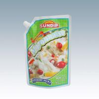 Quality stand up pouch with spout for sauce packaging,corner spout bag screwed with the cap for sale
