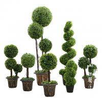 China Anti UV Artificial Boxwood Triplicate Ball Wreath And Spiral Grass Plant Topiary Bonsai Tree on sale
