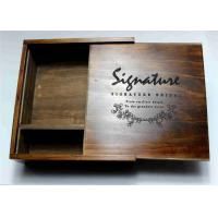 Quality Wedding Gift Slide Top Wooden Box , Pine Square Wooden Box With Lid for sale