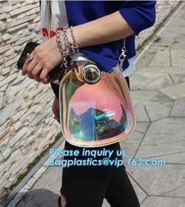 Quality adjustable shoulder strap women nylon pvc tote bag, Summer Beach Clear PVC Shoulder Bag DIY Transparent Clutch Tote Bag for sale