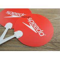 China Popular Custom Plastic Hand Fans Red Durable Die Cut Round Shape for sale