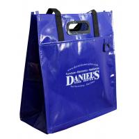 Quality Deep Blue PP Woven Shopping Bags Eco-friendly Material Shining Coated for sale