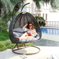 Quality Hanging Double seat Resin Wicker swing Egg Chair & Stand & Cushion for sale