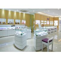 Buy Retail Shop Lighted Commercial Jewelry Wall Display Case High Glossy White Color at wholesale prices
