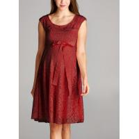 Quality Trendy Red Color Lace Maternity Going Out Dresses Clothes Anti - Wrinkle for sale