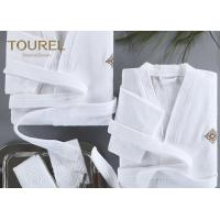 China Basic Hooded Hotel Quality Bathrobes Luxury Hooded White Terry Velour Shawl Robe on sale