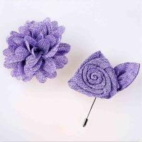 Quality Non Woven Purple Handmade Flower Brooch Delicate With Boutonniere Pin for sale