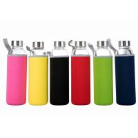 Buy 16 Oz Fancy Unbreakable Glass Water Bottle With Stainless Steel Cap at wholesale prices