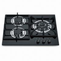 Quality 3-burner Built-in GAS Stove with Stainless Steel Oil Dish and Cast Iron Pan Support for sale