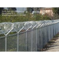 China welded mesh fence or chain link fence with barbed wire or razor wire on the top on sale