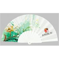 Quality Custom Folding Hand Fans with plastic ribs and full color printed fabric ,  size 23cm for sale