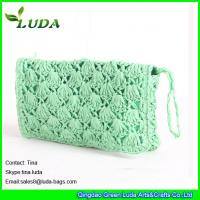 China LUDA geen handbags women hand crochet paper string straw clutch on sale