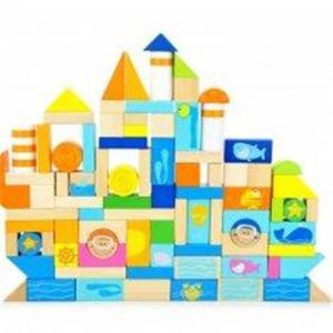 Quality Ocean Animal Blocks Educational Designed Drums Beech Children Wooden Building Blocks for sale