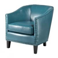 Quality Faux Leather Oversized Living Room ChairWith Single Row Nail Head Trim for sale