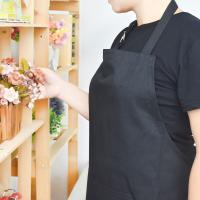 Adult Black 100% Cotton Kitchen Aprons For Women With Pockets