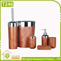 Quality Wood And Metal Design 6 Pieces Fashion Hot Selling New Bath Accessory Set for sale