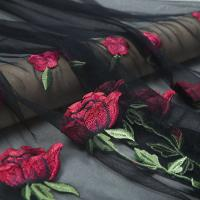 China Applique Black Embroidered Mesh Lace Fabric With 3d Red Floral Design For Bridal Dresses on sale