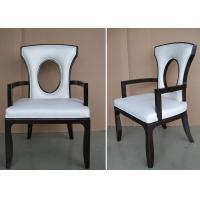Fabric Upholstered Modern White Leather Dining Room Chairs With Hole - Back