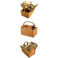 Quality Wholesale Cheap Willow Wine Hamper Wicker Empty Picnic Basket with Service for 2 for sale