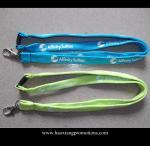 Quality Cheap Custom 15*900mm green polyester lanyard Silkscreen printing logo for sale