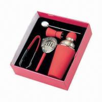 Quality 600ml Cocktail Shaker Set with Rubber Painted, Ice Tongs, Stirrer, Strainer and Jigger for sale