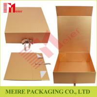 China High quality Golden paper brand cosmetic paper box luxury packaging design with ribbon closure on sale