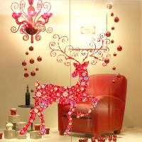 Quality Non - Toxic Christmas Wall Art Stickers , David's Deer Christmas Window Decal for sale