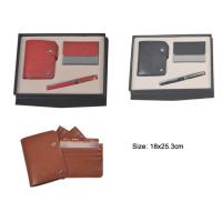 Quality 3 in 1 leather business gift set with leather name card pouch, name card holder and pen for sale