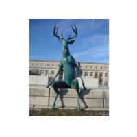 Quality Large Casting Green Patina Bronze Statue Bronze Deer Sculpture For Street Decor for sale