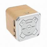 Quality Mini Wood Grain Multifunction Hidden LCD Screen Display Speaker, Supports FM Radio/TF Card/U-disk for sale
