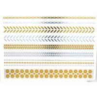 China Gold and silver foil metallic temporary tattoo. Gold, rose gold, silver, black, turquoise. on sale