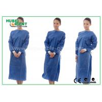 Quality Nonwoven SMS Blue disposable hospital scrubs with Elastic and Knit cuff for sale