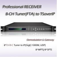 Quality DVB-C IPTV System Professional Receiver Eight Channels RF TO IP Streaming for sale